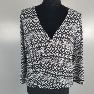 H&M, black & white blouse, size S